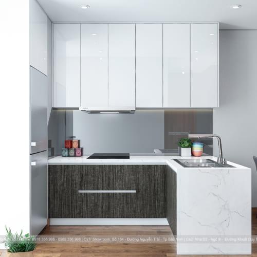 Mẫu tủ bếp đẹp hình chữ L FuFa